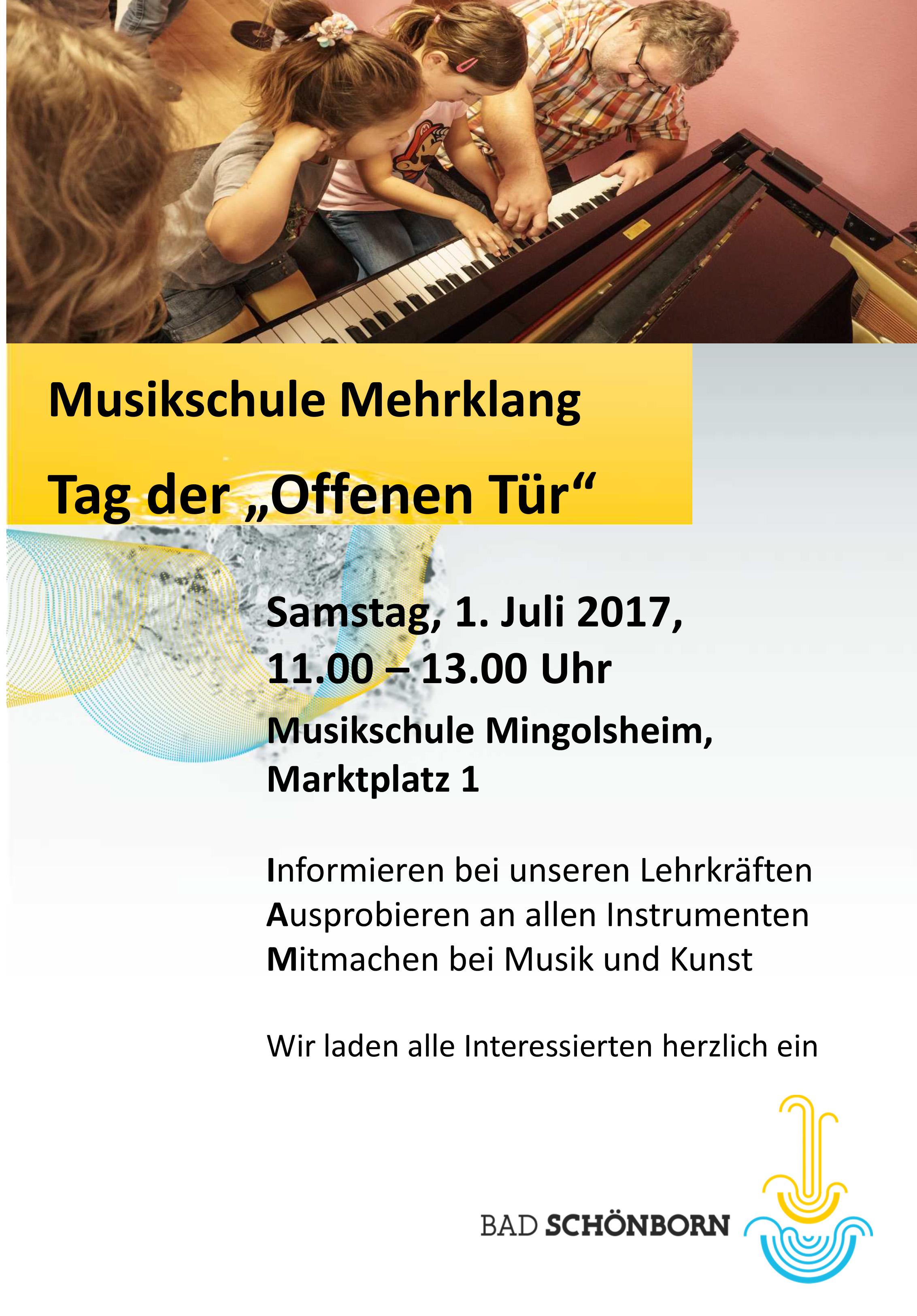 musikschule mehrklang bad-schönborn – herzliche einladung zum tag, Einladung